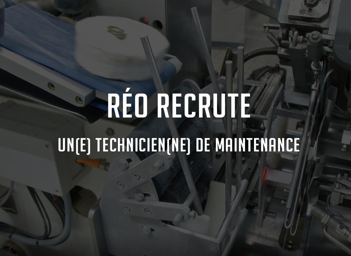 Réo recrute un technicien de maintenance